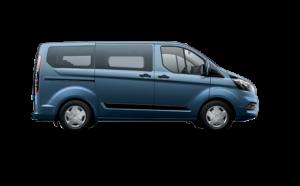 Transit Custom Variobus Seitliche Ansicht in blau ohne Hintergrund
